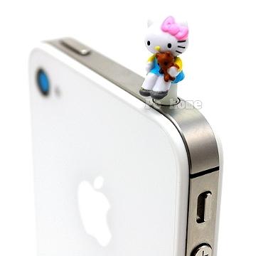 日本進口SANRIO【Hello Kitty抱熊熊】iphone音源孔防塵塞