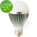 晶冠 8W白光節能LED 燈泡 JG-LED800W (2入)