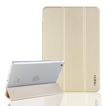 ROCK Apple iPad Mini 3 膚感系列磁吸側翻休眠皮套(金)