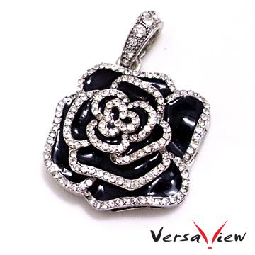 VersaView 水晶銀歌德式黑玫瑰造型4G隨身碟