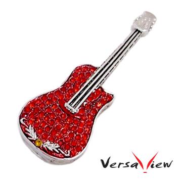 VersaView 玫瑰紅浪漫晶鑽吉他造型隨身碟-4G