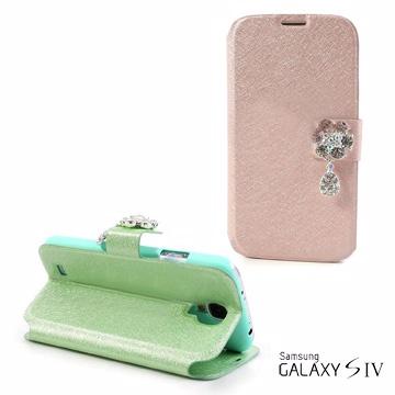Versaview Samsung Galaxy S4 髮絲紋雅緻花朵水鑽保護套