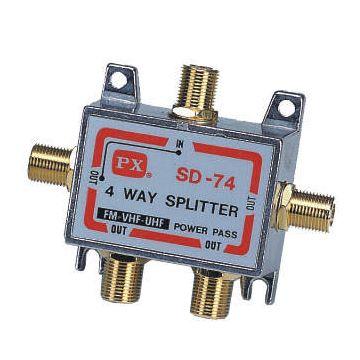 PX大通 GSD-74 鍍金頭四路分配器