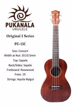 『超值推薦款!! Pukanala Ukulele PU-13C』23吋烏克麗麗 原廠超厚琴袋 指法表
