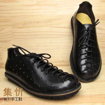 《手工 ㊣ 縫製》 型男 //必備【集忻‧MIT台灣手工鞋】 洞洞鞋 蟑螂鞋 休閒鞋 紳士皮鞋『黑色』TS103