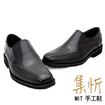 輕量方便【集忻t.star‧MIT台灣手工鞋】低調素面 深口 樂福鞋 紳士鞋『黑色』TF-6020
