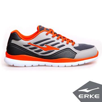 ERKE爾克-男運動綜訓慢跑鞋-碳灰/朱砂橙