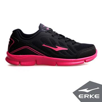 ERKE爾克-女運動常規慢跑鞋-正黑/玫紅