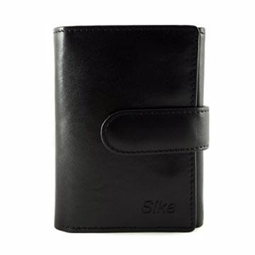 Sika - 義大利時尚真皮三折小皮夾A8280-03 - 質感黑