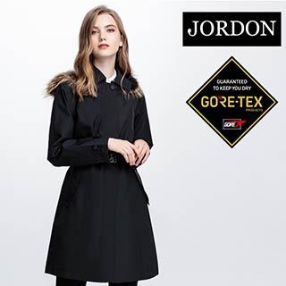 【JORDON】GORE-TEX Performance Shell 女單件式長版狢毛帽時尚風衣 1954