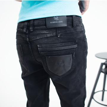 【SCORPION】韓版新潮漆皮口袋伸縮窄褲