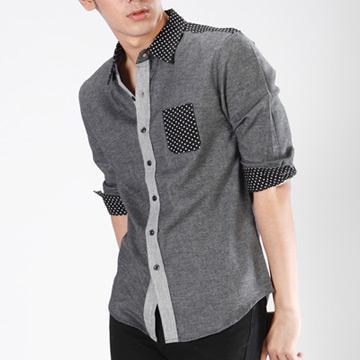 【SCORPION】韓版圓點拼色可翻七分袖襯衫