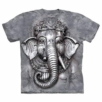 『摩達客』(預購)(大尺碼3XL)美國進口【The Mountain】自然純棉系列 象頭神臉 T恤