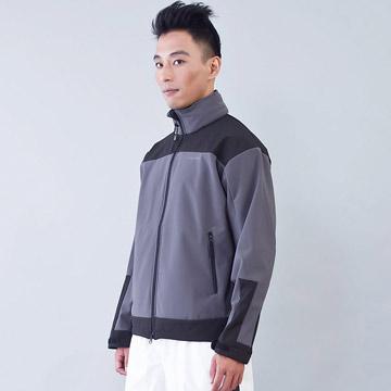 TECL-WOOD《96610》防風防水透氣保暖Soft Shell(軟殼)外套(灰/黑色)(男)