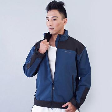 TECL-WOOD《96611》防風防水透氣保暖Soft Shell(軟殼)夾克(藍灰/黑)(男)