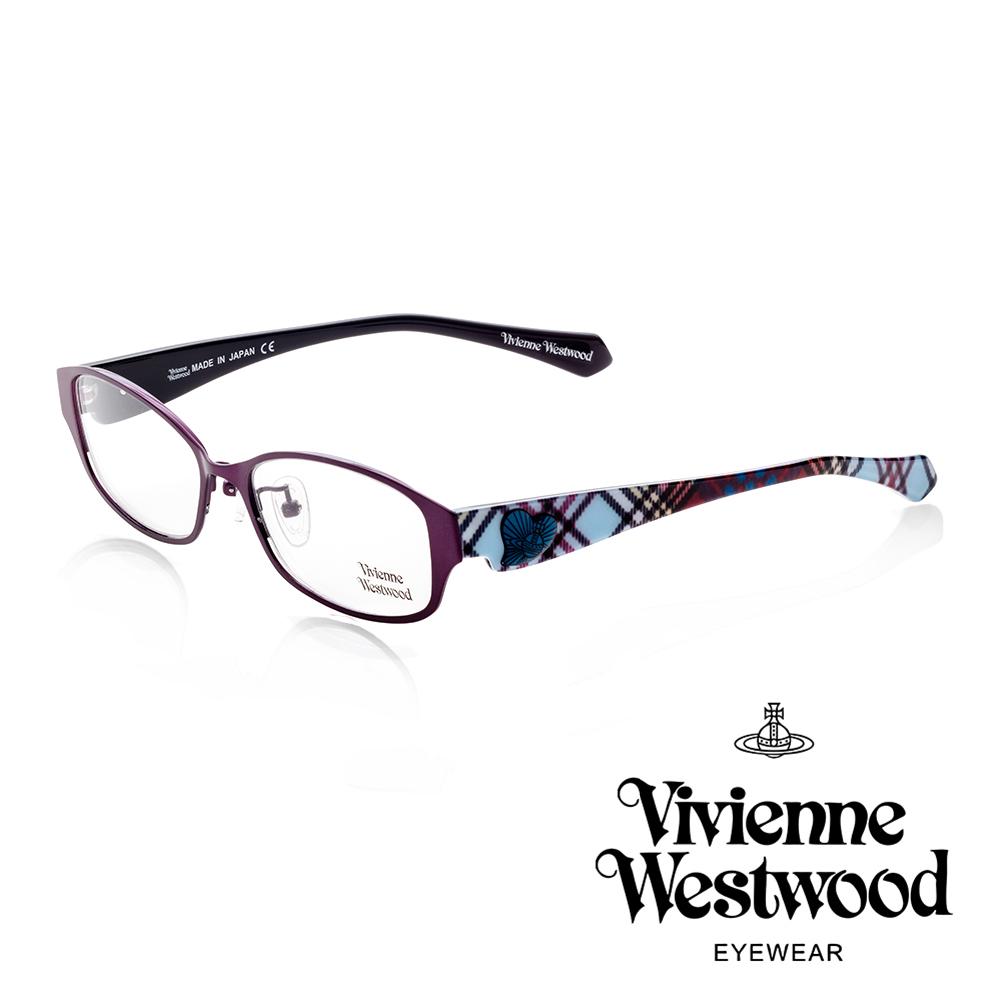 Vivienne Westwood 英國薇薇安魏斯伍德經典格紋愛心土星環款(桃紅+藍格紋)VW26503