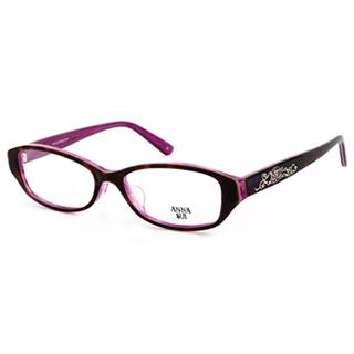 Anna Sui 日本安娜蘇 時尚豹紋薔薇造型平光眼鏡(琥珀+紫) AS575188