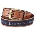 Tommy Hilfiger 2012男品味織帶鑲嵌棕色皮帶