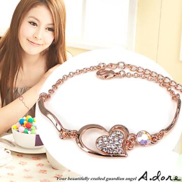 【A.dore】甜心永結˙水晶鑽飾手環式手鍊(玫瑰金˙晶白鑽)