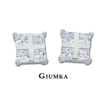 【GIUMKA】晶亮十字夾鑽耳環 925純銀 鋯石 抗敏耳針式耳環MF092