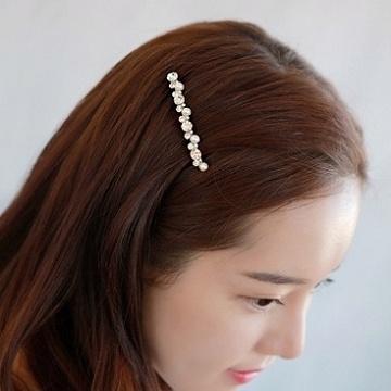Charme 韓國新品 優雅仿珠水晶鑽玫瑰金髮夾