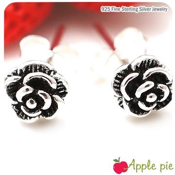 【Apple Pie】維多利亞古典小玫瑰˙925純銀耳環-5mm 甜美主張,超人氣925純銀飾