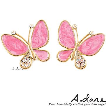 【A.dore】伊莎貝拉˙水晶蝴蝶耳環-珠光粉紅