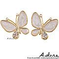 【A.dore】伊莎貝拉˙水晶蝴蝶耳環-真珠白