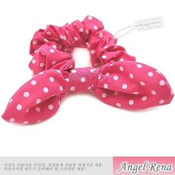 【Angel Rena】首爾時尚夯˙兔耳朵髮束-櫻桃粉圓點白
