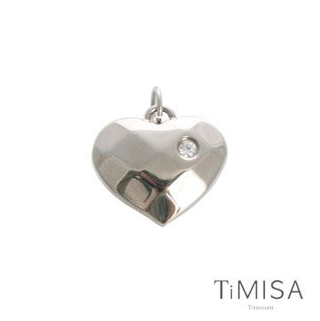 TiMISA《菱格愛心-晶鑽版(M)》純鈦墜飾