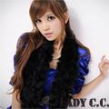 【Lady c.c.】日本Lana名媛風皮草兔毛球圍巾(黑)