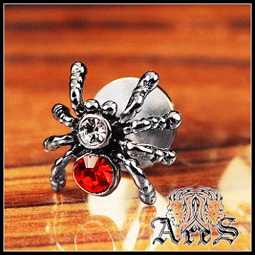 ARES 『THE  SPIDER』-紅  白鋼造型雙頭耳針 【單顆販售】【潮流限量商品】