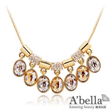 【A'bella浪漫晶飾】夢彩鈴水晶-金色香檳項鍊