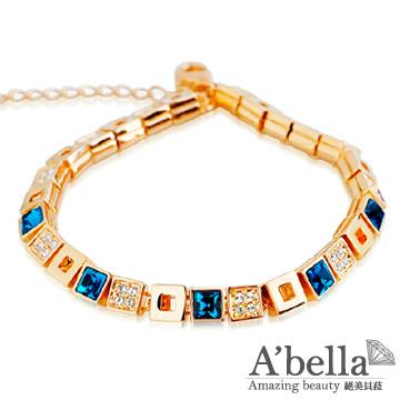【A'bella浪漫晶飾】方形密碼-深海藍水晶手鍊
