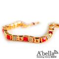 【A'bella浪漫晶飾】方形密碼-水蓮紅水晶手鍊