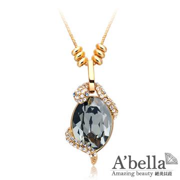 【A'bella浪漫晶飾】金蛇臥盤-銀色夜影水晶項鍊