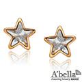【A'bella浪漫晶飾】簡約星星水晶耳環-金