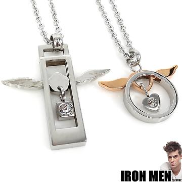 【Iron Men】法蘭西天使灣戀人˙珠寶白鋼對鍊(銀/玫瑰金)
