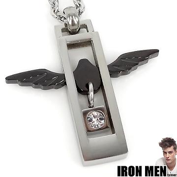 【Iron Men】法蘭西天使灣戀人˙珠寶白鋼項鍊(銀黑)