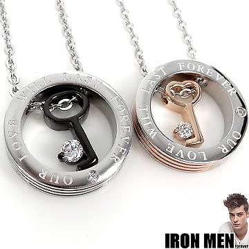 【Iron Men】永恆珍愛˙晶鑽鎖鑰珠寶白鋼對鍊(銀黑/玫瑰金)