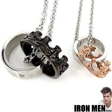 【Iron Men】英格蘭王室情緣˙珠寶白鋼對鍊(銀黑/玫瑰金)