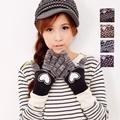 【One Mall】MIT台灣製 雙層內裡+羽毛紗針織手套 - 提花愛心款 (4色)