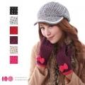 【MIT台灣製】雙層內裡羽毛紗針織保暖手套 -蝴蝶結款(六色可選)