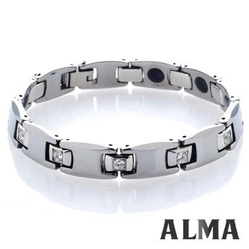 【ALMA】不凡基調.俐落簡約鋯石鎢鋼手鍊-寬版