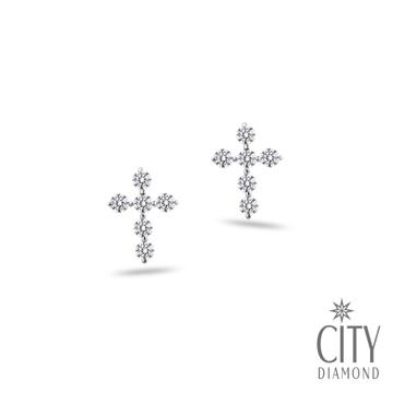 City Diamond『晶鑽十字』K金耳環_2E0309W