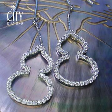 張曼玉款City Diamond『晶鑽葫蘆』K金耳環_KE01140