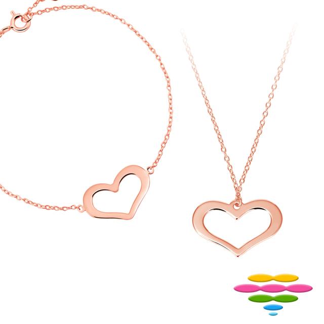 彩糖鑽工坊 桃樂絲系列銀飾 玫瑰金純銀套組HAG-BS05+PS05