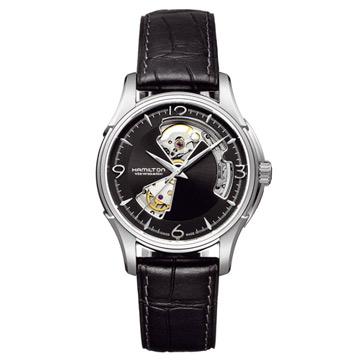 HAMILTON JAZZMASTER 鏤空時尚機械腕錶/黑