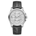 HAMILTON Jazzmaster品味出眾計時機械腕錶-42mm/銀白/黑皮帶