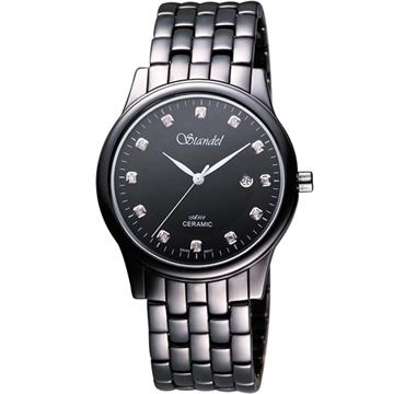 Standel 詩丹麗真鑽時尚陶瓷腕錶(9S0132SD)-黑/38mm